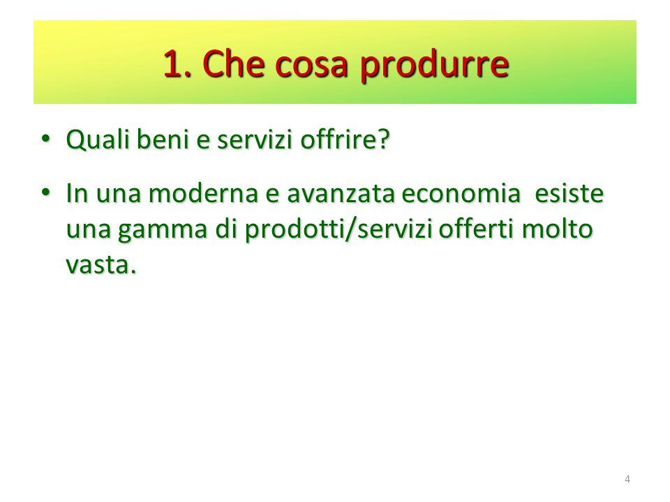 1. Che cosa produrre Quali beni e servizi offrire