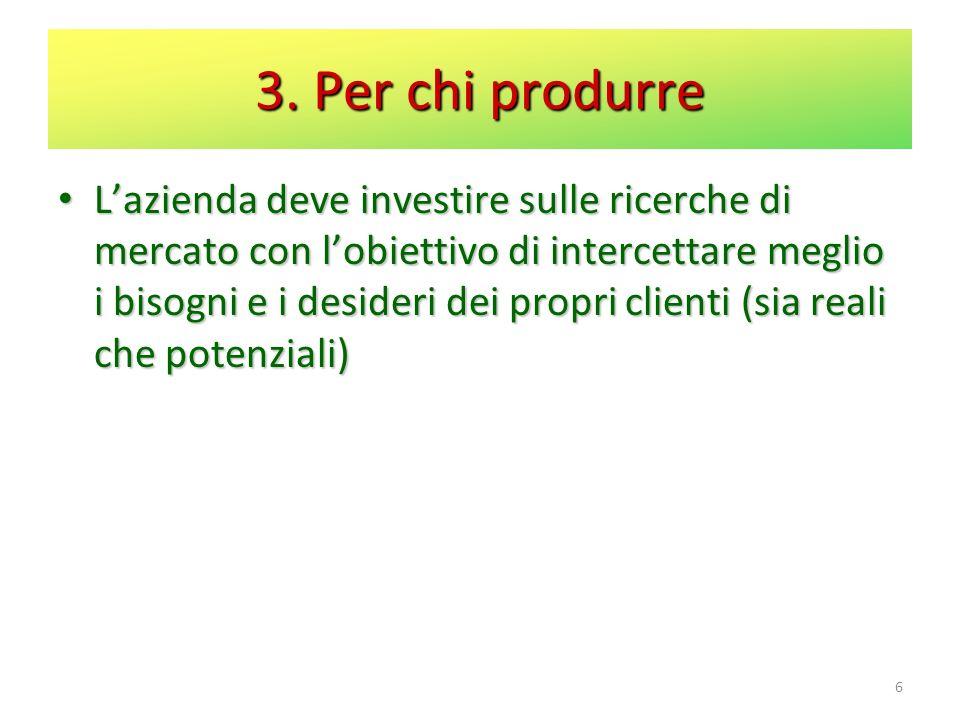 3. Per chi produrre