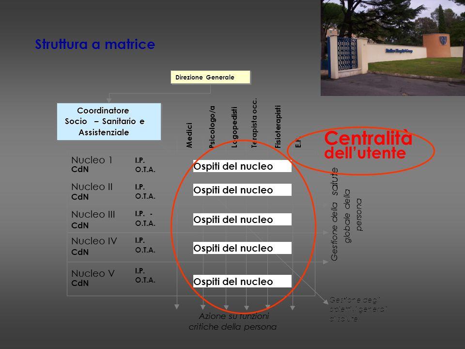 Centralità dell'utente Struttura a matrice Nucleo 1 Ospiti del nucleo