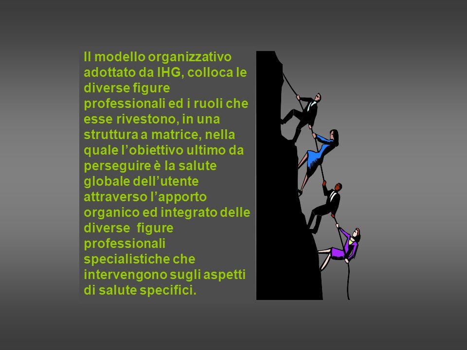 Il modello organizzativo adottato da IHG, colloca le diverse figure professionali ed i ruoli che esse rivestono, in una struttura a matrice, nella quale l'obiettivo ultimo da perseguire è la salute globale dell'utente attraverso l'apporto organico ed integrato delle diverse figure professionali specialistiche che intervengono sugli aspetti di salute specifici.