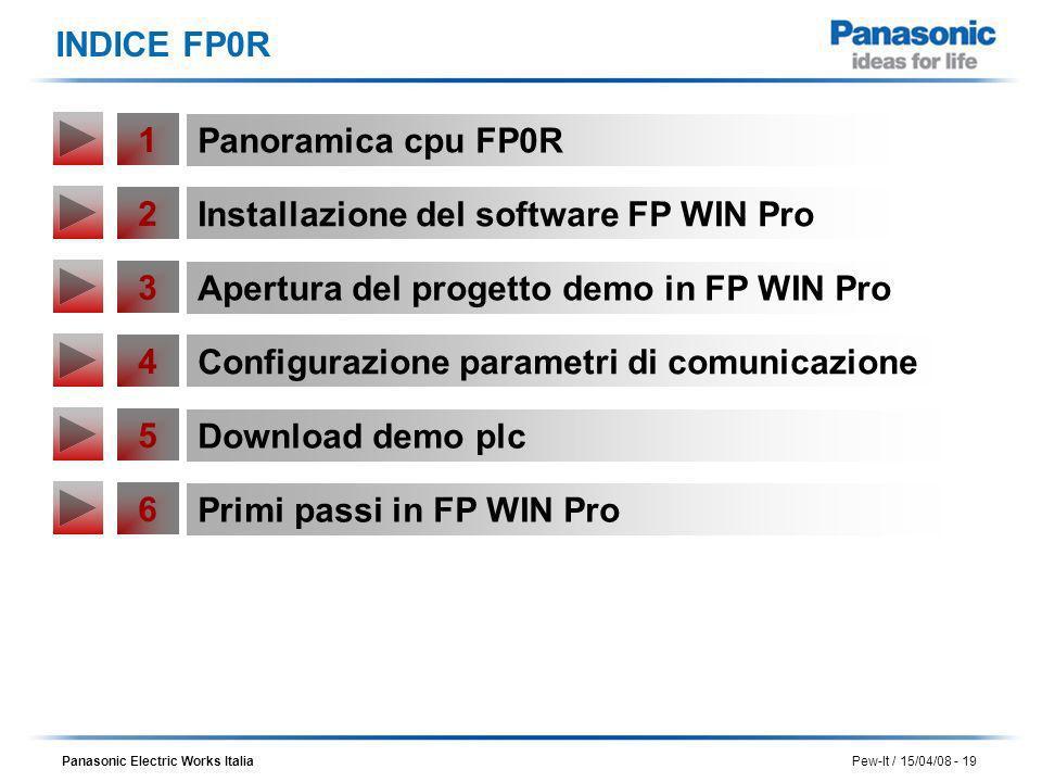 INDICE FP0R1. Panoramica cpu FP0R. 2. Installazione del software FP WIN Pro. 3. Apertura del progetto demo in FP WIN Pro.