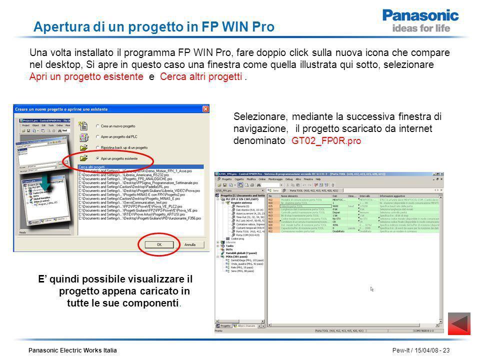 Apertura di un progetto in FP WIN Pro