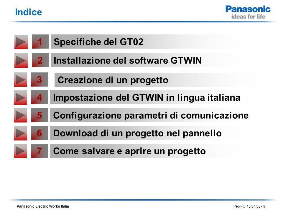 Indice 1. Specifiche del GT02. 2. Installazione del software GTWIN. 3. Creazione di un progetto.