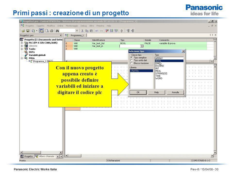 Primi passi : creazione di un progetto
