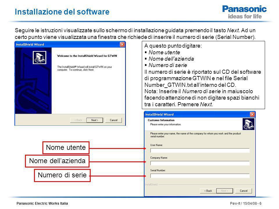 Installazione del software