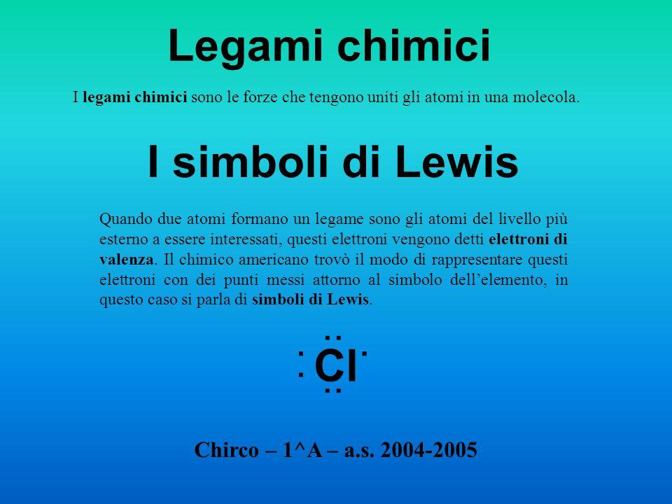 Legami chimici I simboli di Lewis Cl .. .