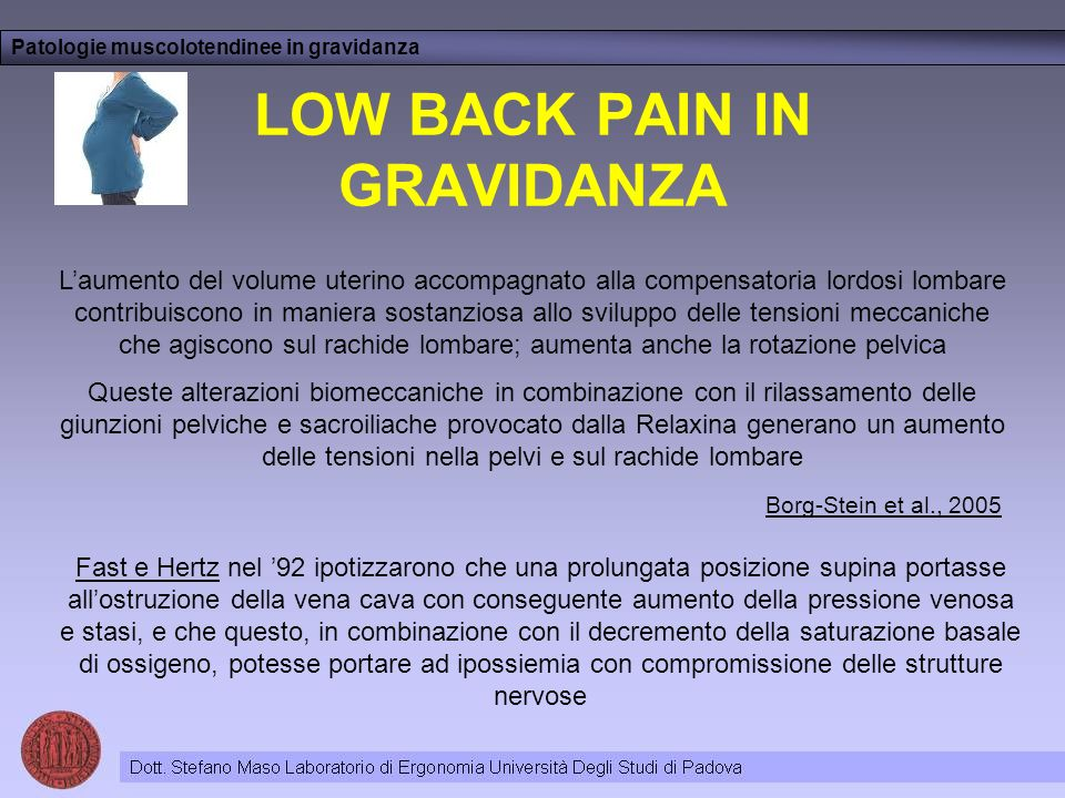 LOW BACK PAIN IN GRAVIDANZA