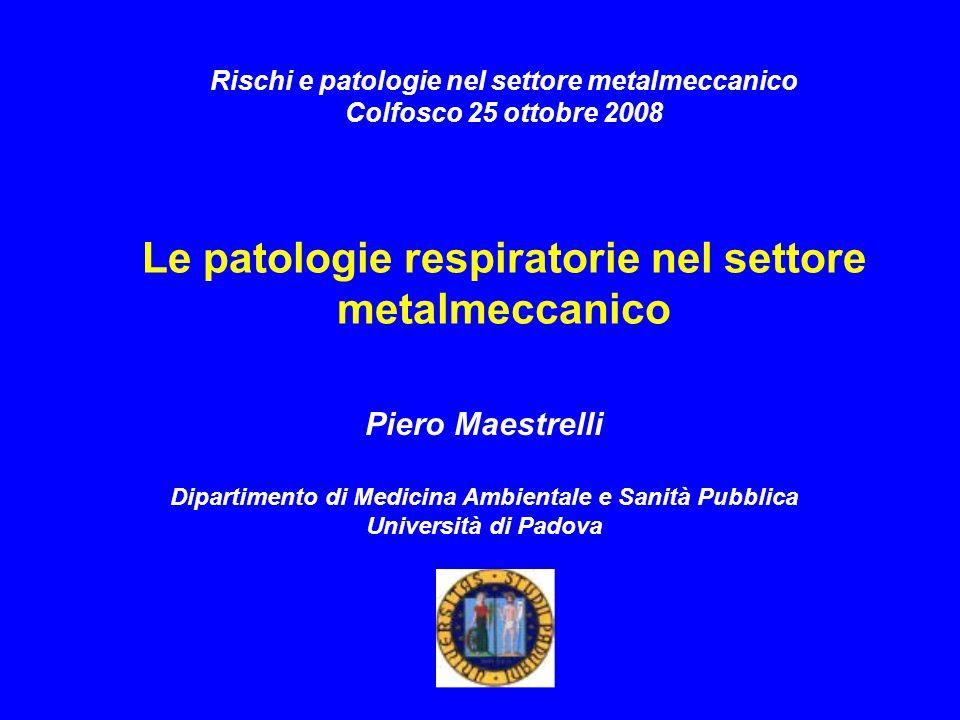 Rischi e patologie nel settore metalmeccanico Colfosco 25 ottobre 2008 Le patologie respiratorie nel settore metalmeccanico