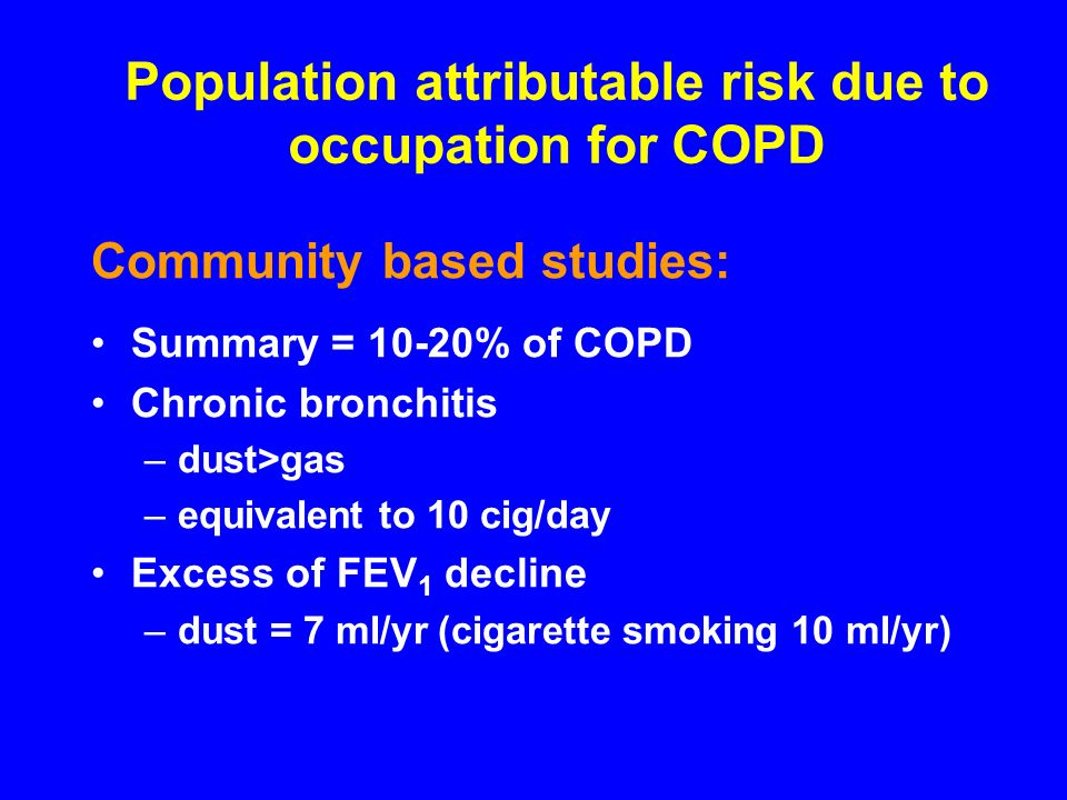 Population attributable risk due to occupation for COPD