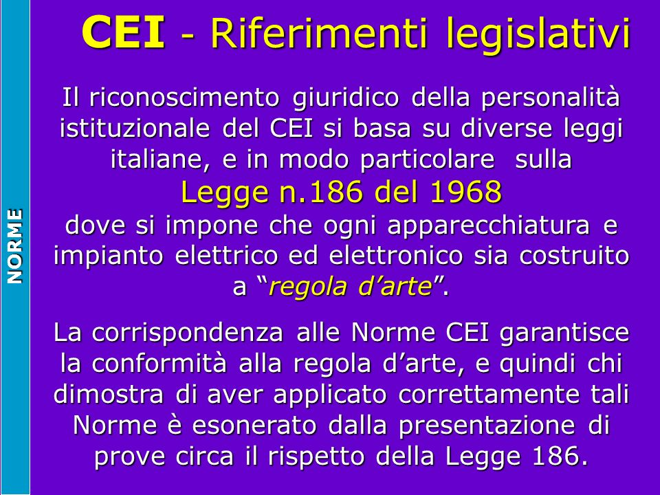 CEI - Riferimenti legislativi