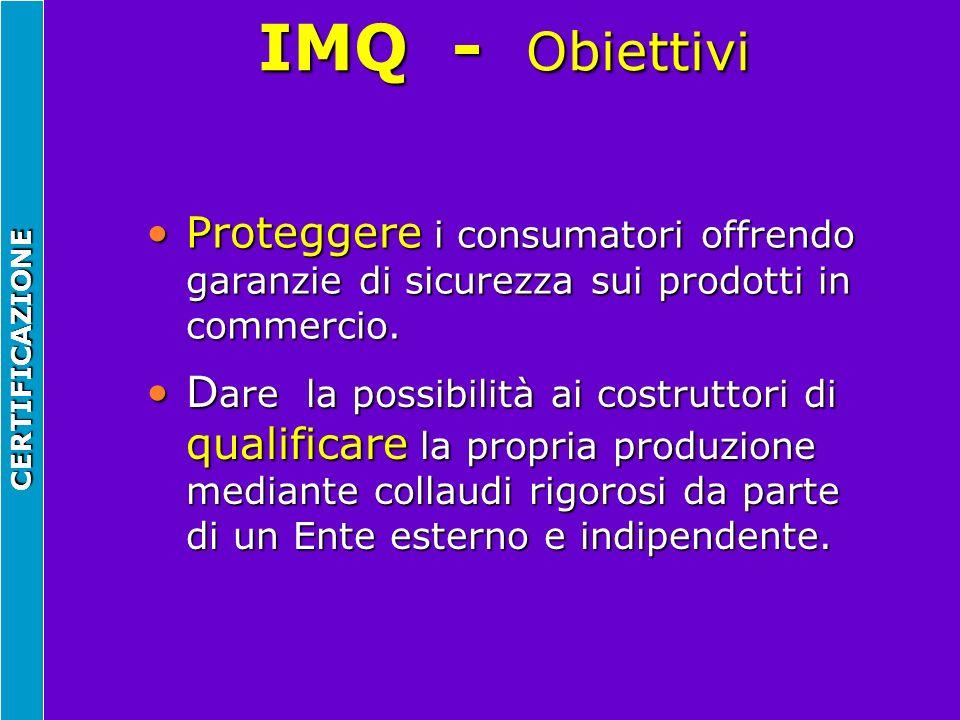 IMQ - Obiettivi Proteggere i consumatori offrendo garanzie di sicurezza sui prodotti in commercio.
