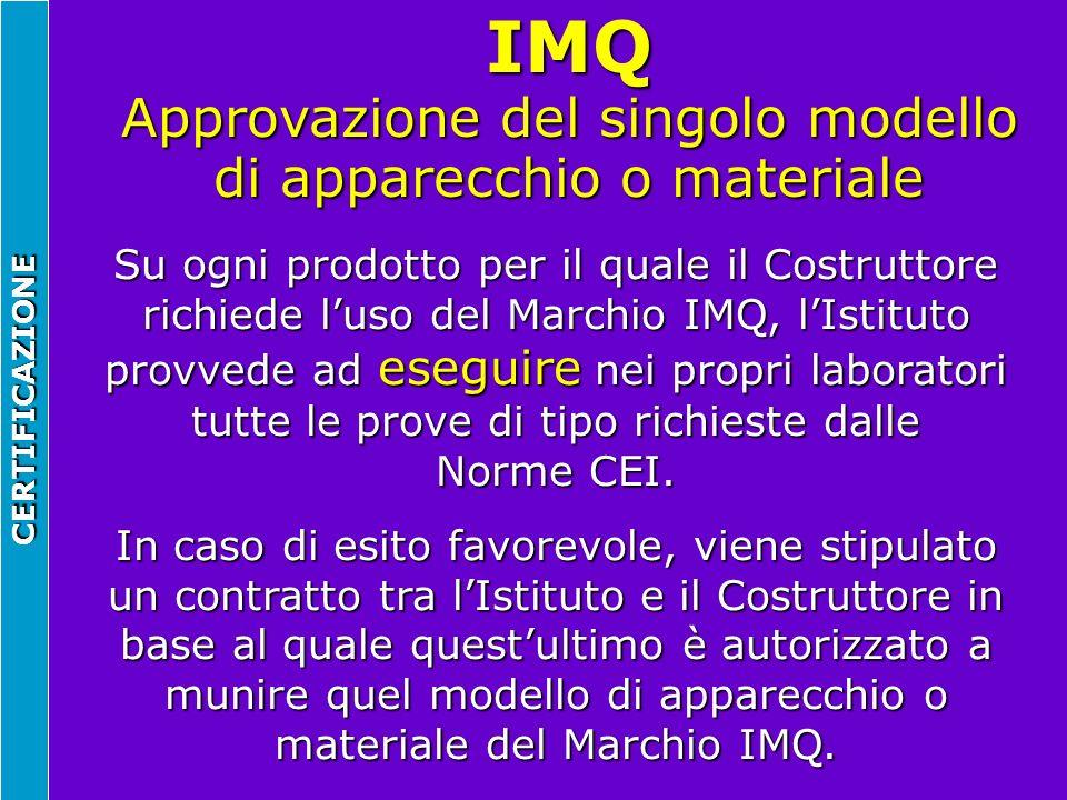 IMQ Approvazione del singolo modello di apparecchio o materiale