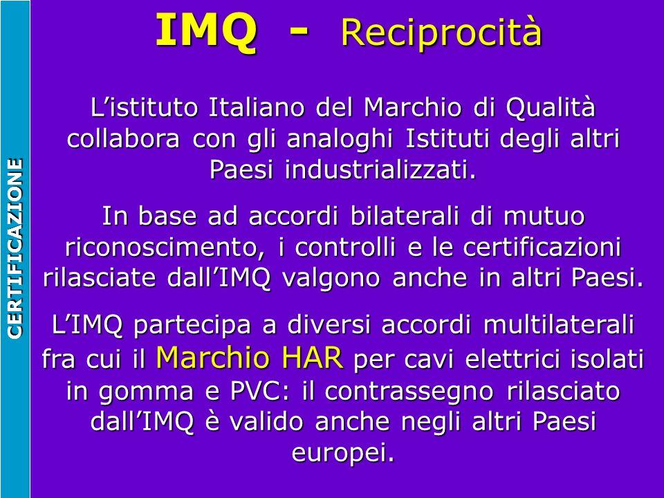 IMQ - Reciprocità L'istituto Italiano del Marchio di Qualità collabora con gli analoghi Istituti degli altri Paesi industrializzati.