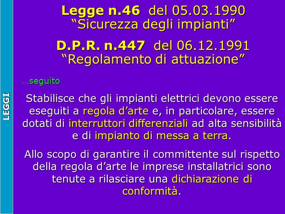 Legge n.46 del 05.03.1990 Sicurezza degli impianti