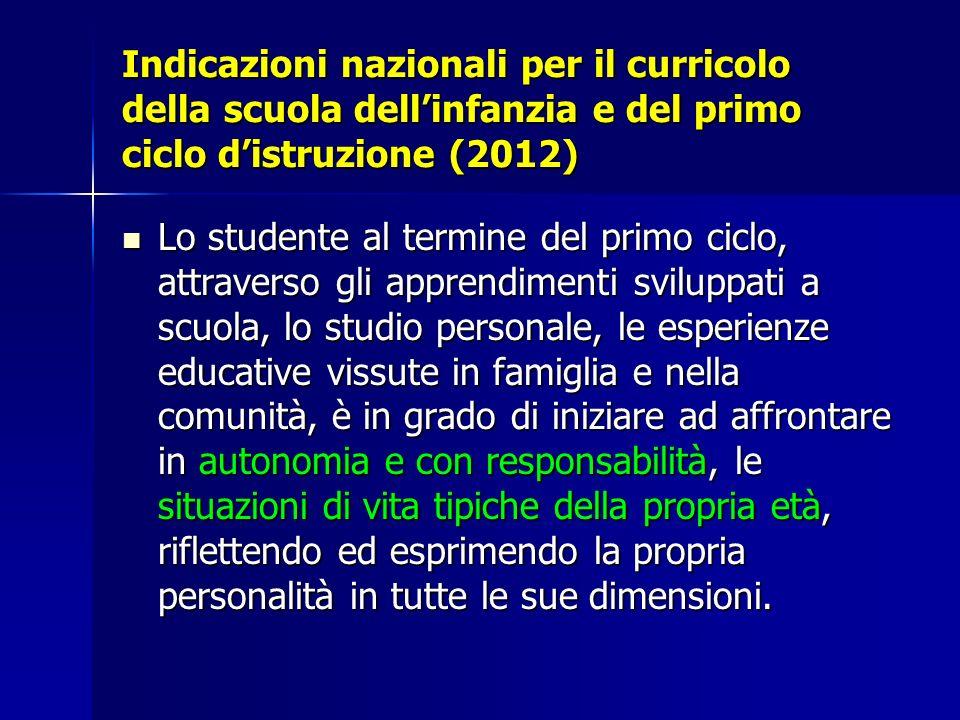 Indicazioni nazionali per il curricolo della scuola dell'infanzia e del primo ciclo d'istruzione (2012)
