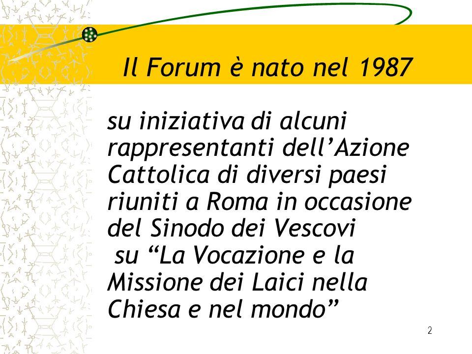 Il Forum è nato nel 1987 su iniziativa di alcuni rappresentanti dell'Azione Cattolica di diversi paesi riuniti a Roma in occasione del Sinodo dei Vescovi su La Vocazione e la Missione dei Laici nella Chiesa e nel mondo