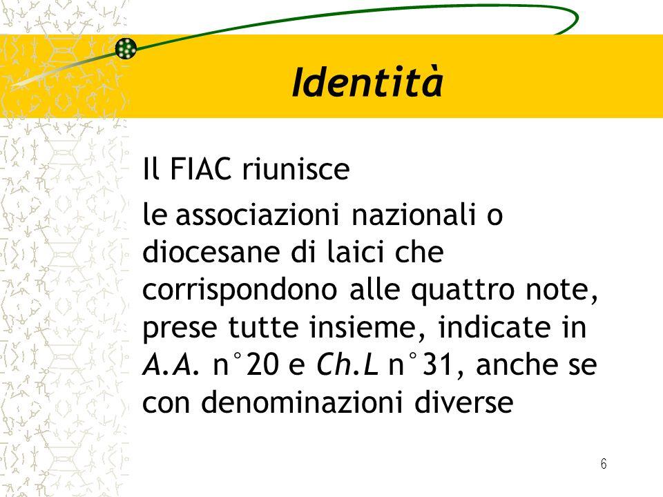 Identità Il FIAC riunisce