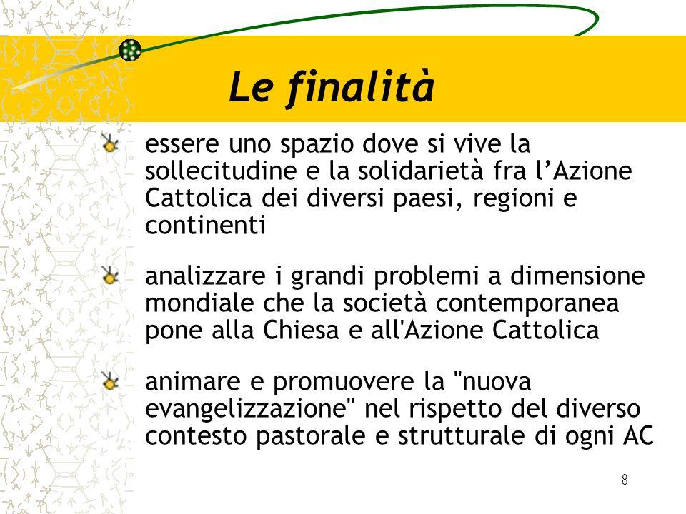 Le finalità essere uno spazio dove si vive la sollecitudine e la solidarietà fra l'Azione Cattolica dei diversi paesi, regioni e continenti.