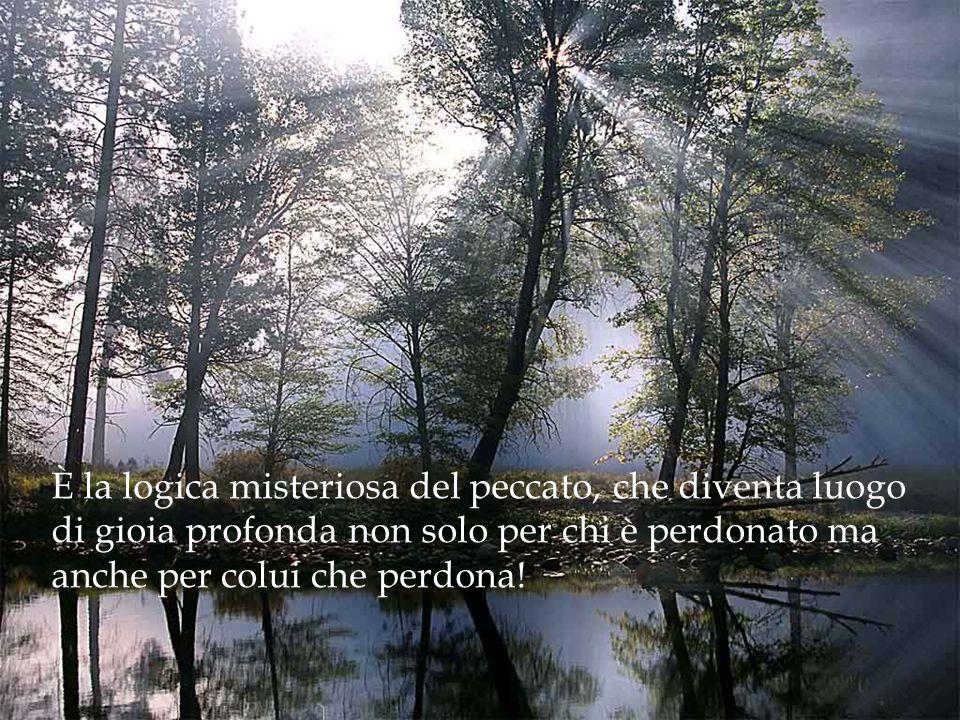 È la logica misteriosa del peccato, che diventa luogo di gioia profonda non solo per chi è perdonato ma anche per colui che perdona!