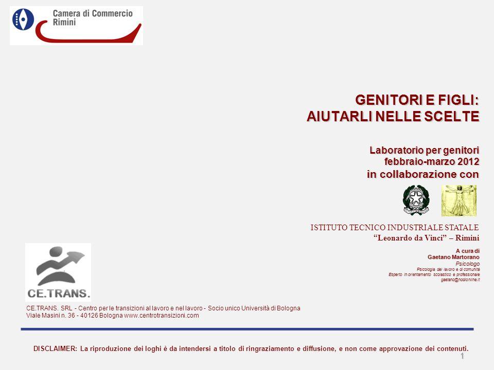 GENITORI E FIGLI: AIUTARLI NELLE SCELTE Laboratorio per genitori febbraio-marzo 2012 in collaborazione con