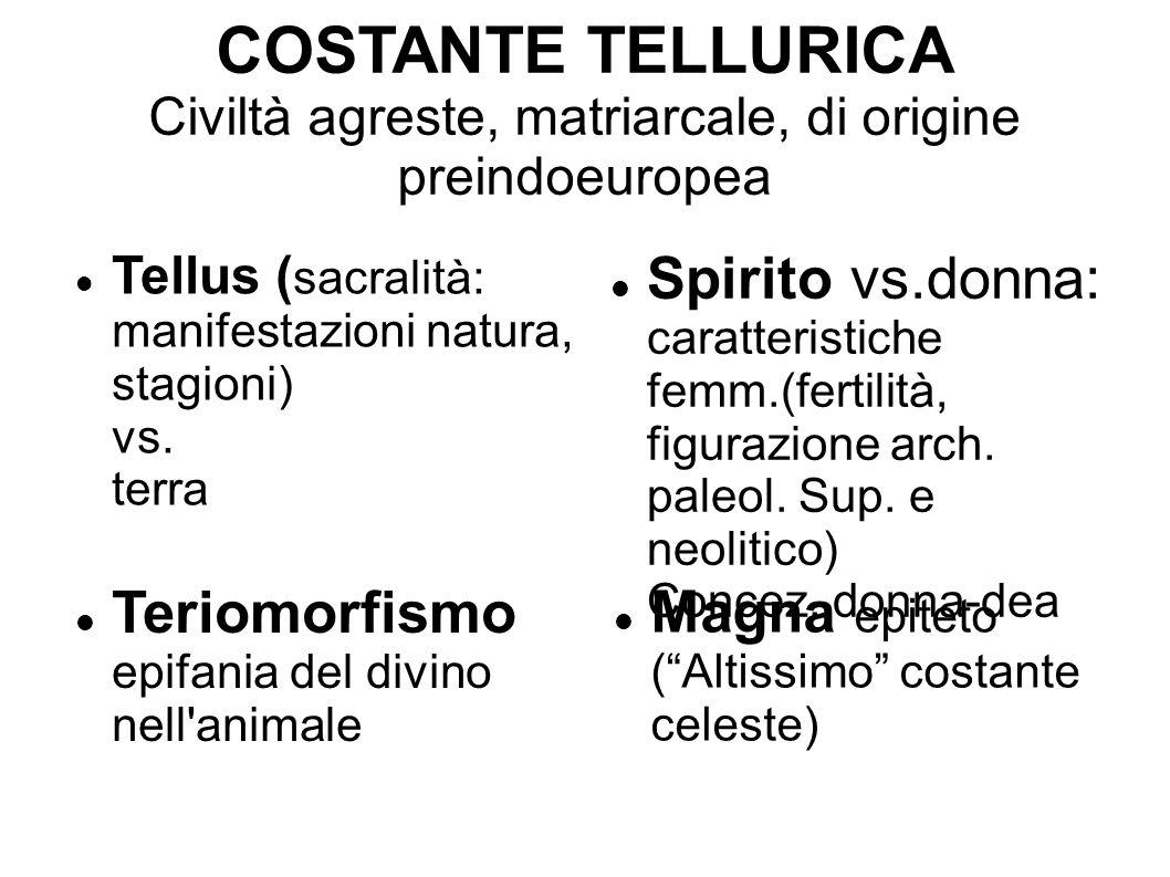 COSTANTE TELLURICA Civiltà agreste, matriarcale, di origine preindoeuropea
