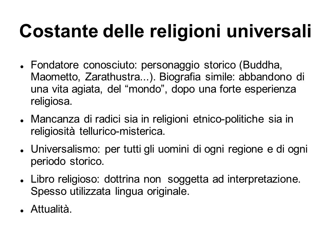Costante delle religioni universali