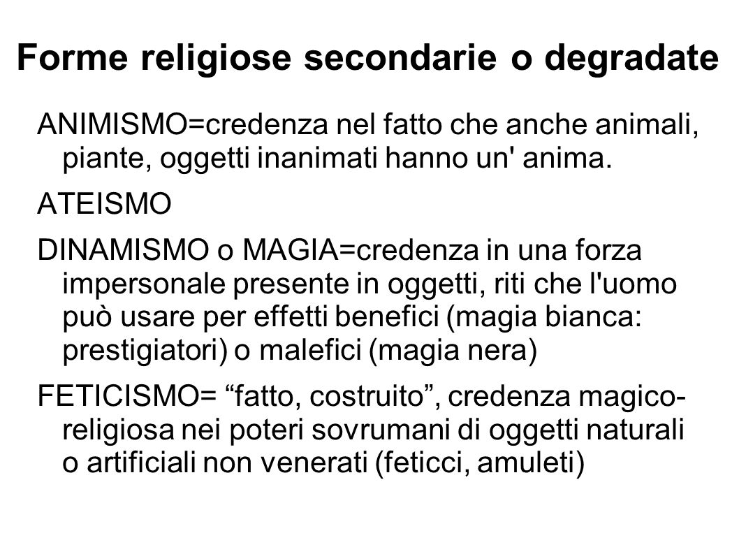 Forme religiose secondarie o degradate