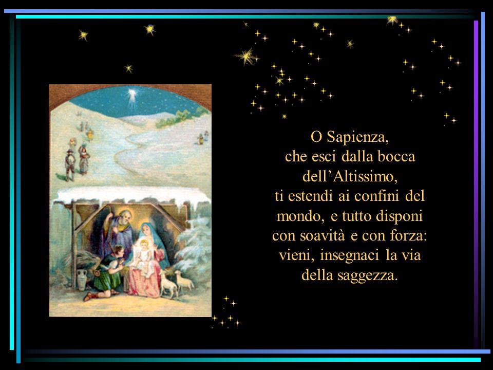 O Sapienza, che esci dalla bocca dell'Altissimo, ti estendi ai confini del mondo, e tutto disponi con soavità e con forza: vieni, insegnaci la via della saggezza.
