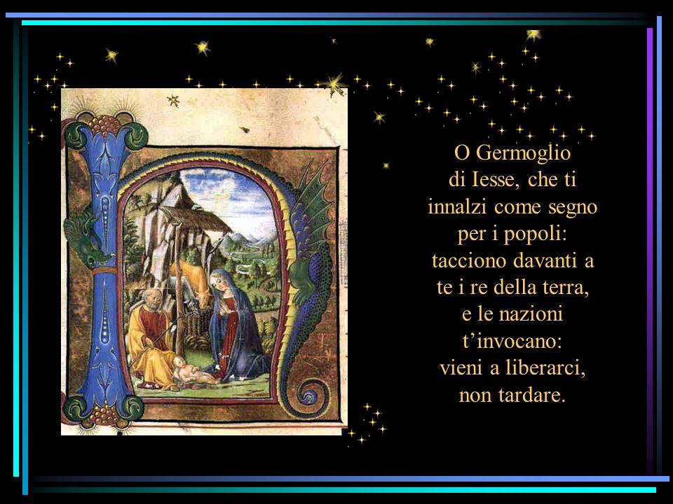 O Germoglio di Iesse, che ti innalzi come segno per i popoli: tacciono davanti a te i re della terra, e le nazioni t'invocano: vieni a liberarci, non tardare.