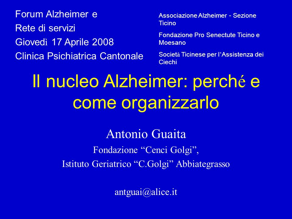 Il nucleo Alzheimer: perché e come organizzarlo