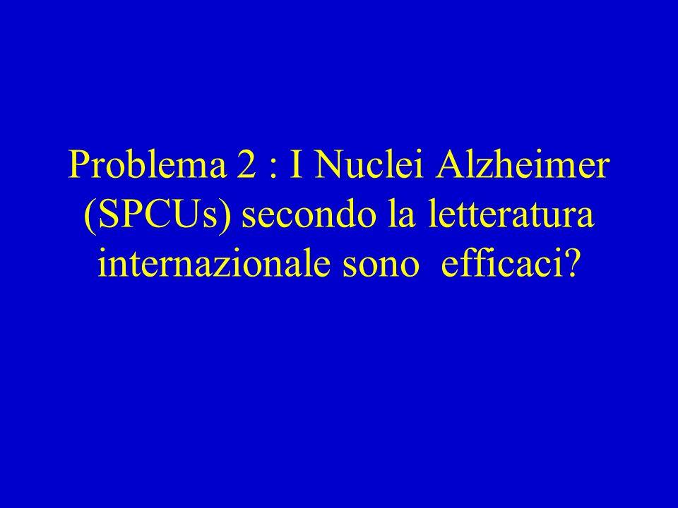 Problema 2 : I Nuclei Alzheimer (SPCUs) secondo la letteratura internazionale sono efficaci