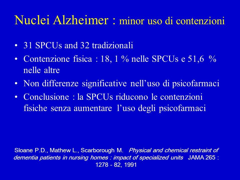 Nuclei Alzheimer : minor uso di contenzioni