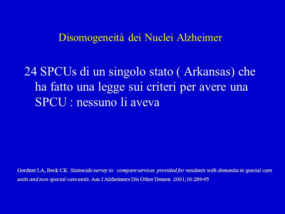 Disomogeneità dei Nuclei Alzheimer