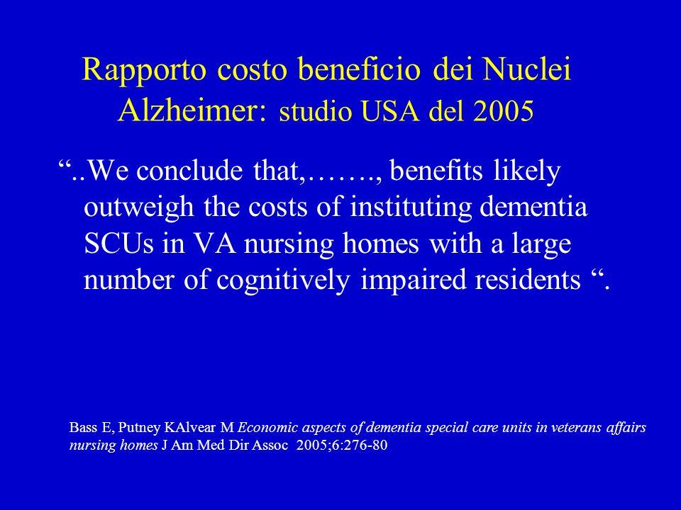 Rapporto costo beneficio dei Nuclei Alzheimer: studio USA del 2005