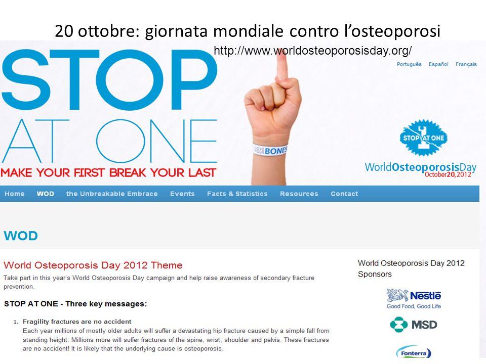 20 ottobre: giornata mondiale contro l'osteoporosi