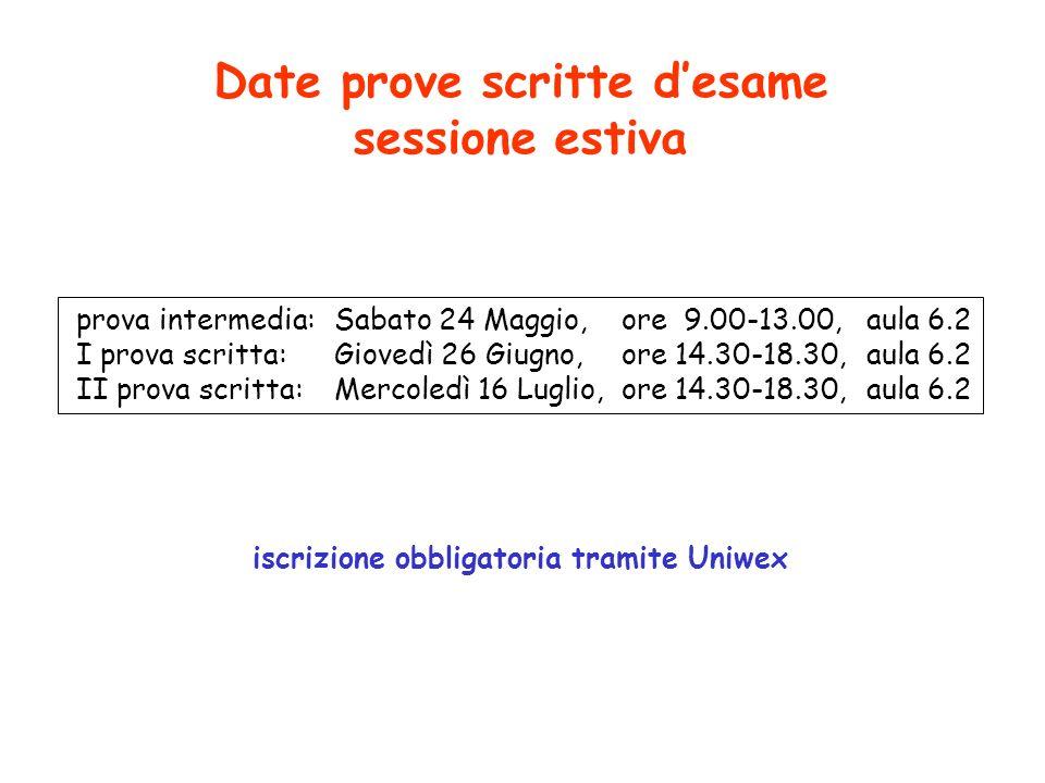 Date prove scritte d'esame sessione estiva