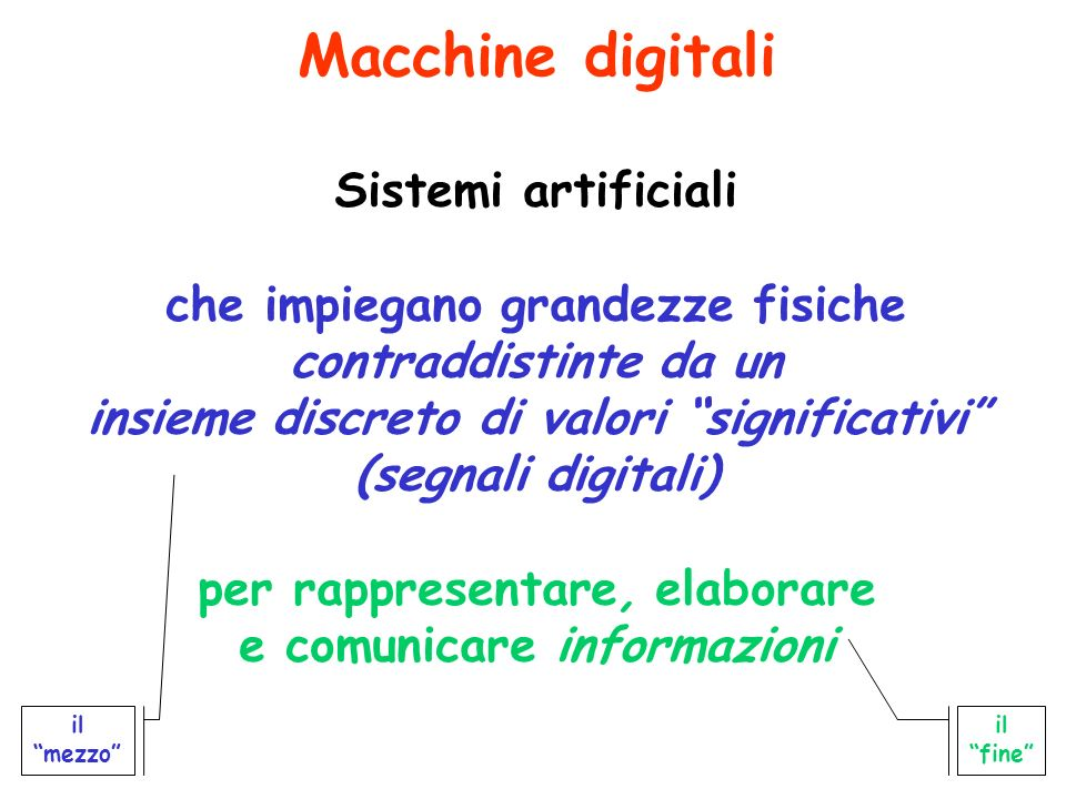 Macchine digitali Sistemi artificiali che impiegano grandezze fisiche