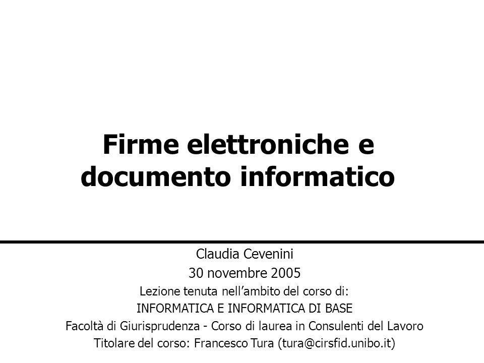 Firme elettroniche e documento informatico