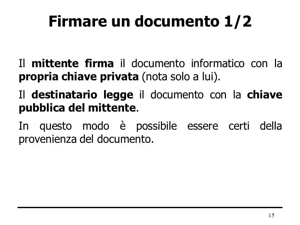 Firmare un documento 1/2 Il mittente firma il documento informatico con la propria chiave privata (nota solo a lui).
