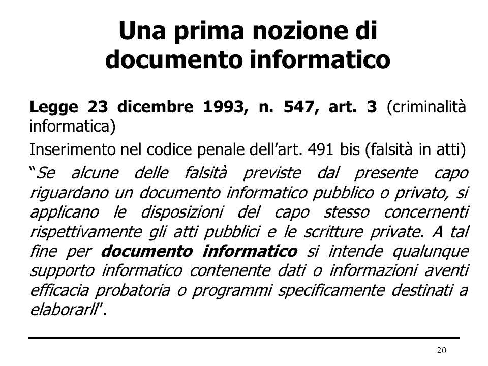 Una prima nozione di documento informatico