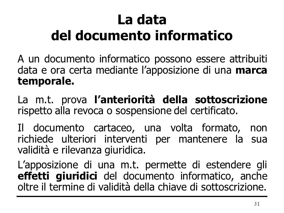 La data del documento informatico