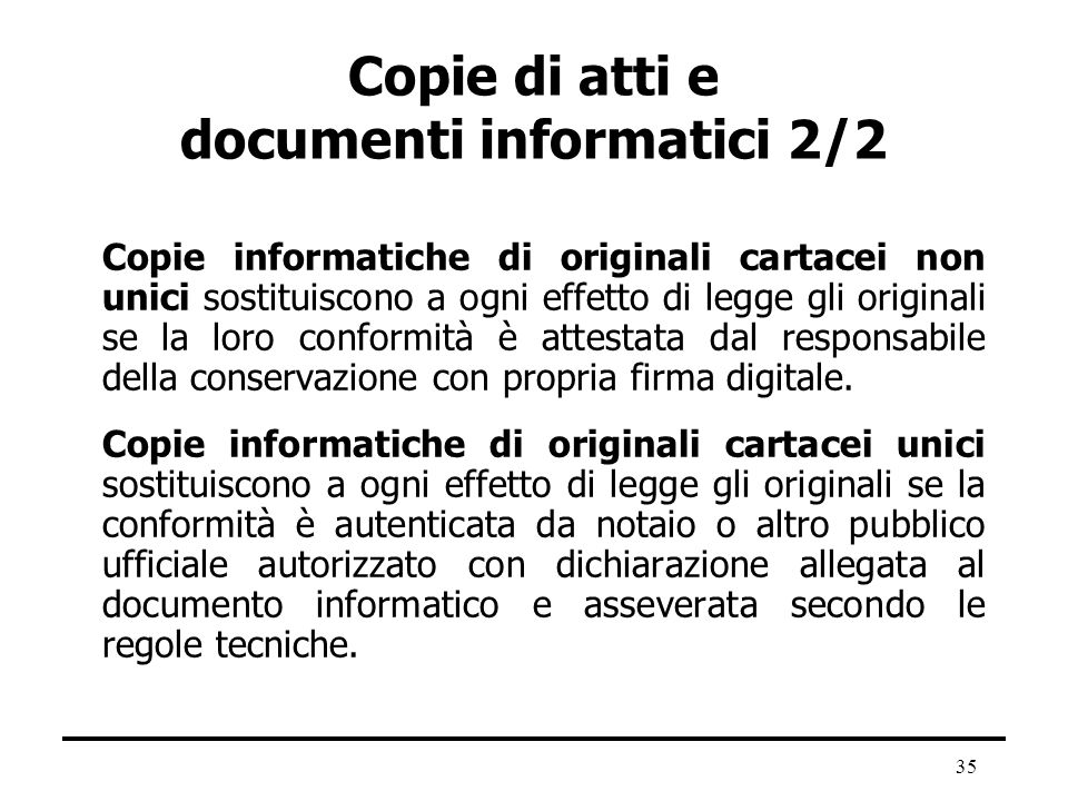 Copie di atti e documenti informatici 2/2