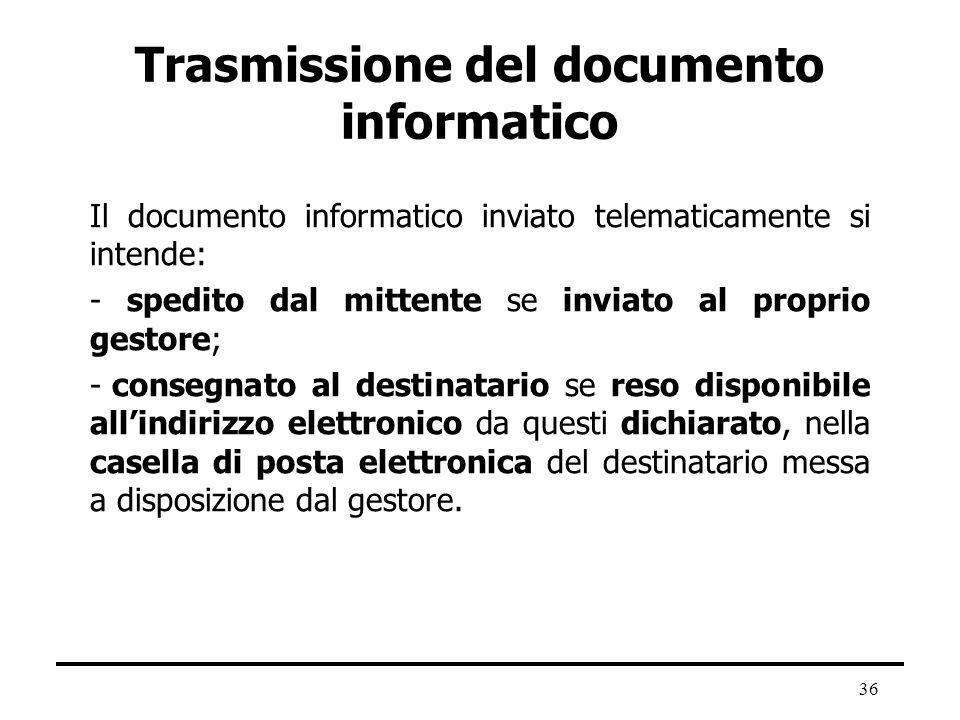 Trasmissione del documento informatico