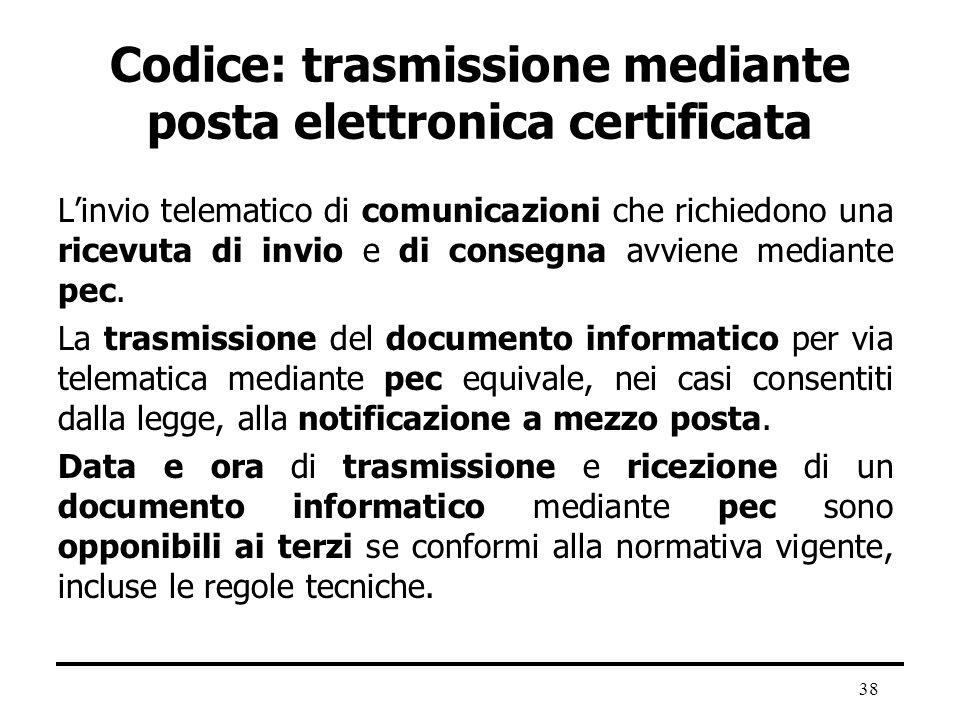 Codice: trasmissione mediante posta elettronica certificata