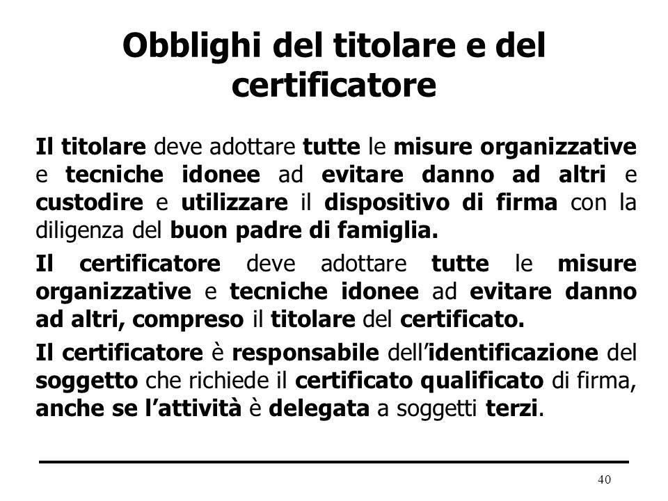 Obblighi del titolare e del certificatore