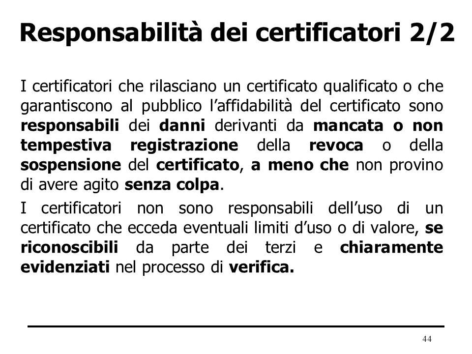 Responsabilità dei certificatori 2/2
