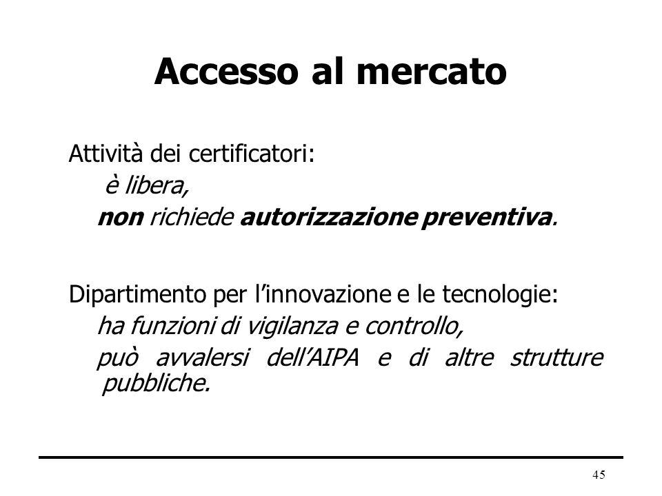 Accesso al mercato Attività dei certificatori: è libera,