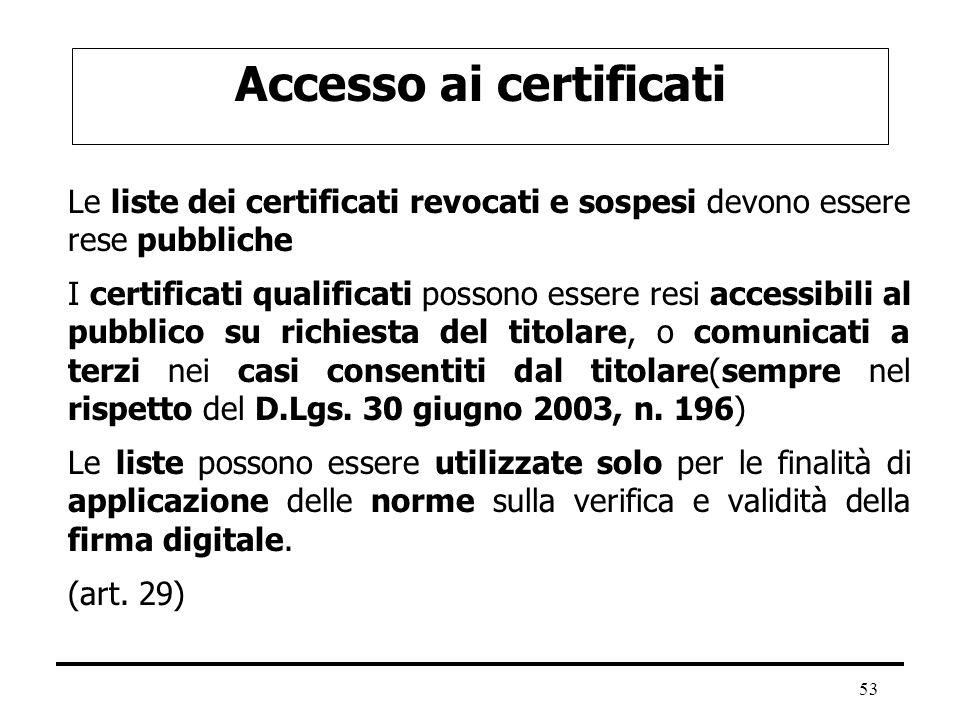 Accesso ai certificati