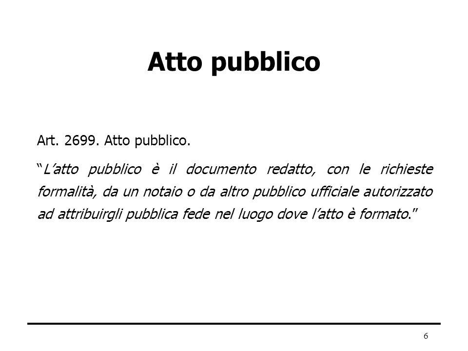 Atto pubblico Art. 2699. Atto pubblico.