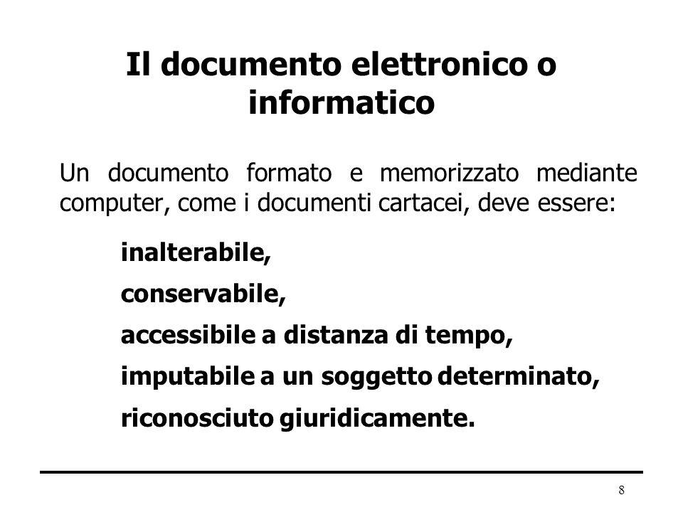 Il documento elettronico o informatico